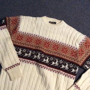 Vintage Nordic a Reindeer Ski Christmas Sweater ML